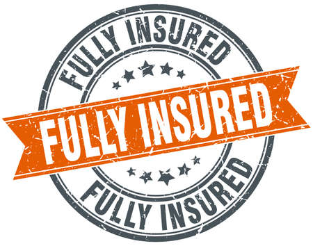 fully: fully insured round grunge ribbon stamp
