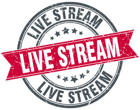 live stream sign: live stream round grunge ribbon stamp Illustration