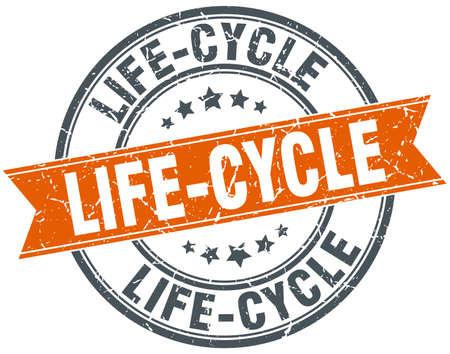 Life-cycle round grunge ribbon stamp