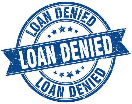 loan denied round grunge ribbon stamp