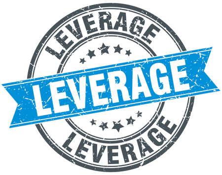 leverage: leverage round grunge ribbon stamp