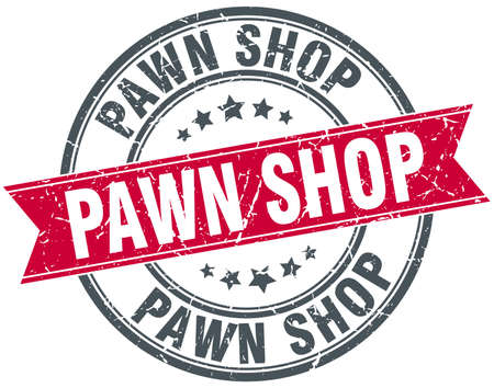 pawn shop round grunge ribbon stamp