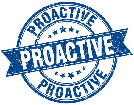 proactive round grunge ribbon stamp