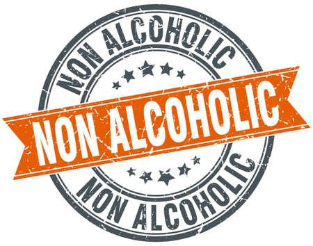 non alcoholic round grunge ribbon stamp Illustration