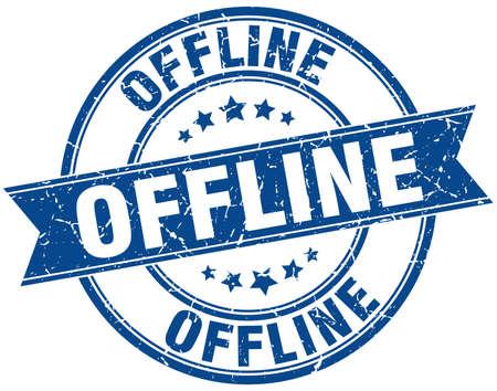 offline: offline round grunge ribbon stamp