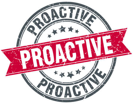 proactive: proactive round grunge ribbon stamp