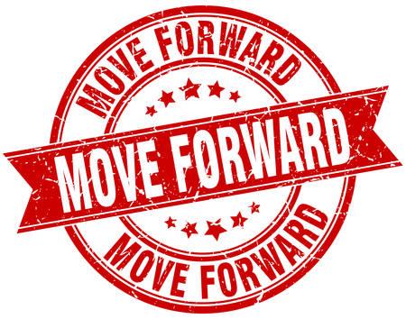 move forward round grunge ribbon stamp