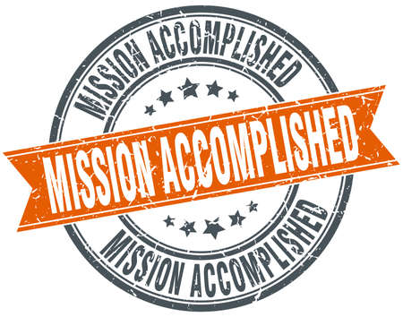 mission accomplished round grunge ribbon stamp Illustration