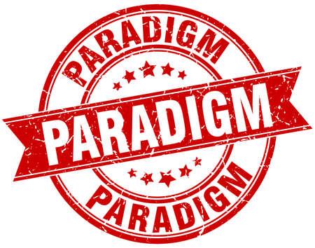 paradigm: paradigm round grunge ribbon stamp