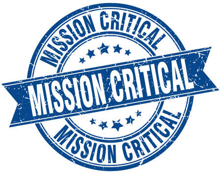 mission critical round grunge ribbon stamp