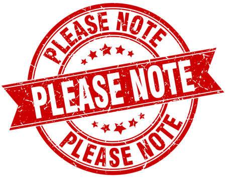 please note round grunge ribbon stamp