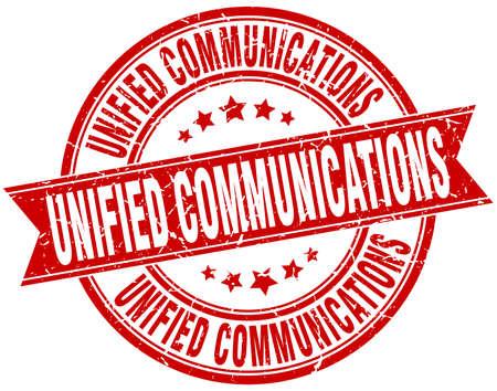 unified communications round grunge ribbon stamp