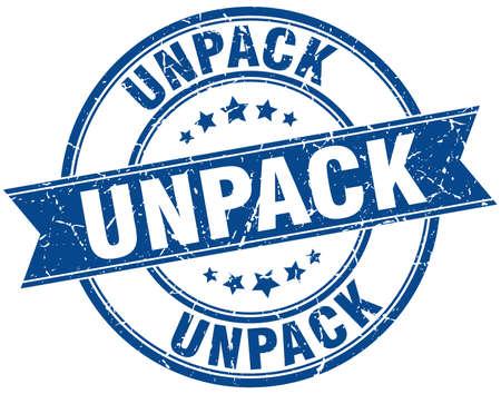 to unpack: unpack round grunge ribbon stamp