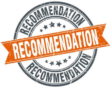 Ronda de recomendación grunge ribbon stamp