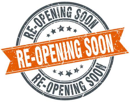 re-opening soon round grunge ribbon stamp
