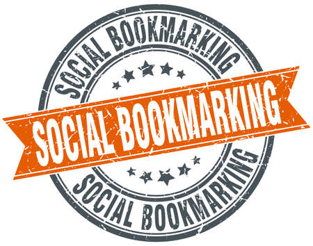 bookmarking: social bookmarking round grunge ribbon stamp