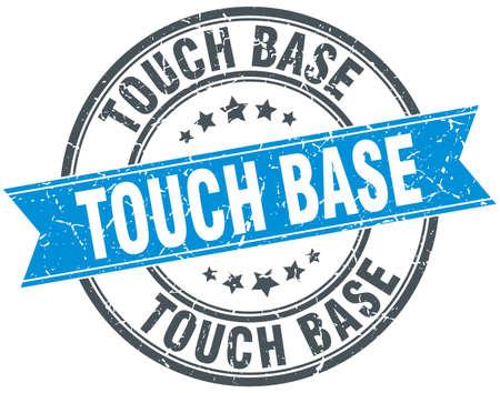 touch base round grunge ribbon stamp