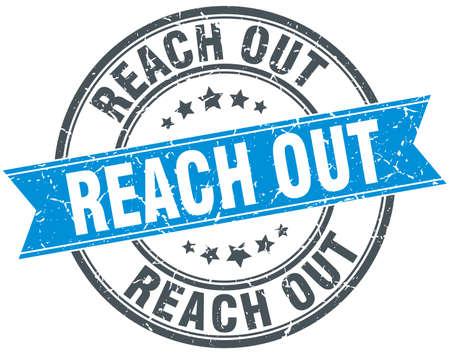 reach out round grunge ribbon stamp Illustration