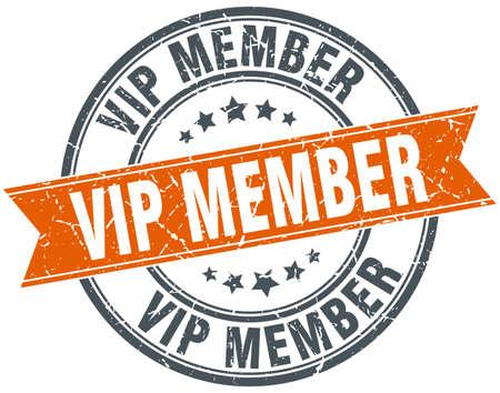 vip member round grunge ribbon stamp Illustration