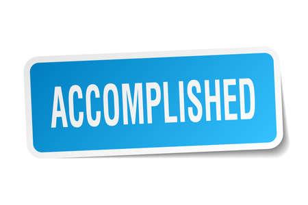 accomplish: accomplished square sticker on white Illustration