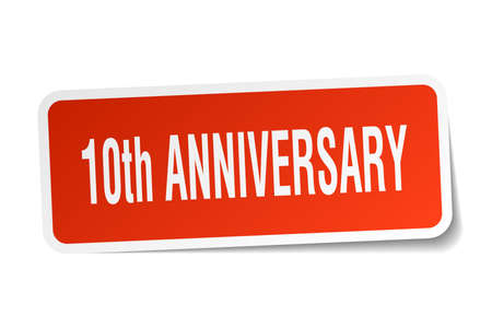 10th anniversary square sticker on white