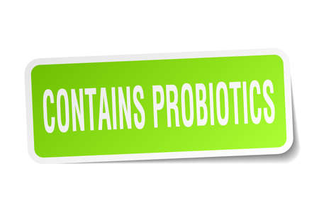 contains probiotics square sticker on white Illustration