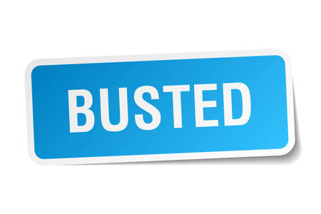 busted: busted square sticker on white