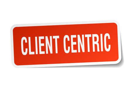 client centric square sticker on white Ilustração
