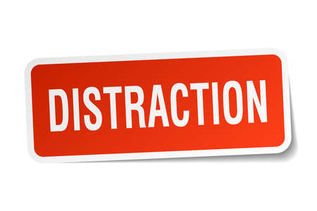 distraction: Distraction square sticker on white
