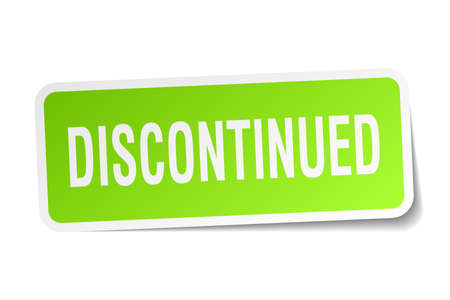 discontinued: Discontinued square sticker on white