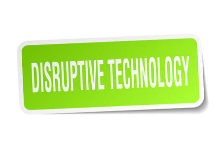 disruptive: Disruptive technology square sticker on white