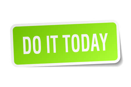 Do it today square sticker on white