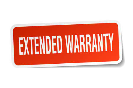 Extended warranty square sticker on white