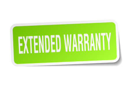Extended warranty square sticker on white Banco de Imagens - 78957771