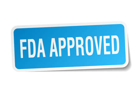 fda approved square sticker on white