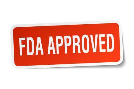 FDA approved square sticker on white. Illustration