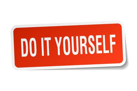 Doe het zelf vierkante sticker op wit. Stockfoto - 78921329
