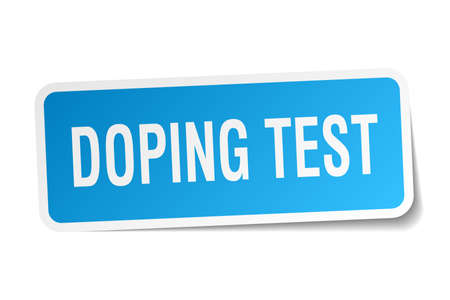 Doping test square sticker on white.