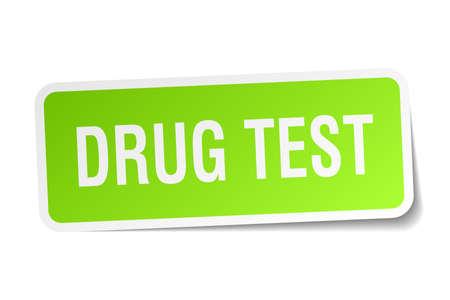 Drug test square sticker on white