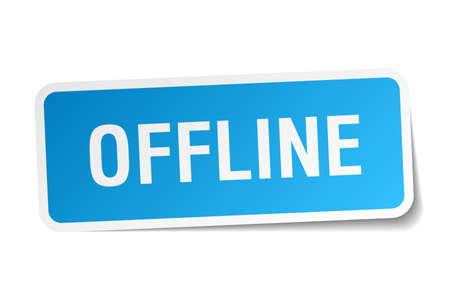 offline: offline square sticker on white Illustration
