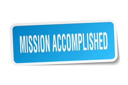 accomplish: mission accomplished square sticker on white Illustration