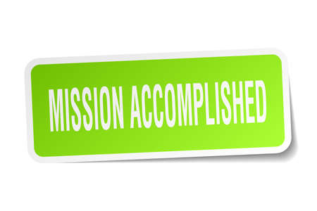 mission accomplished square sticker on white Illustration