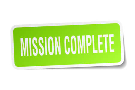 mission complete square sticker on white Illustration
