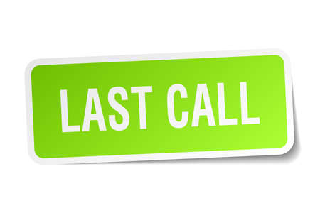 last call square sticker on white Çizim