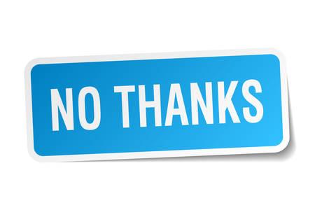 no thanks square sticker on white Vector Illustration