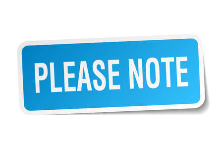 please note square sticker on white