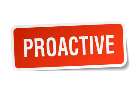 proactive: proactive square sticker on white