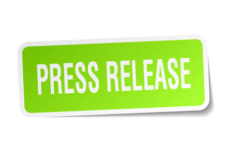 press release square sticker on white