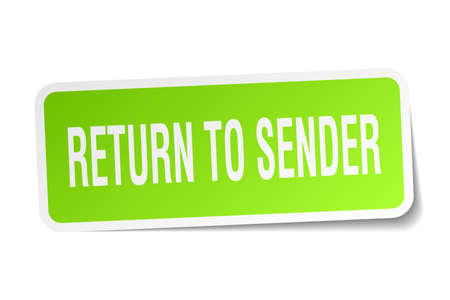 sender: return to sender square sticker on white