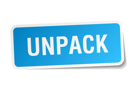 to unpack: unpack square sticker on white Illustration